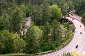 around the pigtail bridge, iron mountain road, south dakota, highway 16a, motorcycles