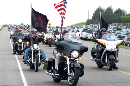 Nearly 400 bikers paraded in to North Dakota's Veterans Cemetery on Memorial Day 2014 to mark the annual event.